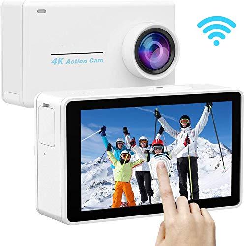 Yarber AR01 4K 16MP Action Cam, Digitale Actionkamera mit WiFi Touchscreen, EIS 40M unterwasserkamera, 8X Zoom Sprachsteuerung Fernbedienung Zubehör Kit Sportkamera