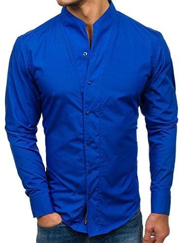 Bolf camicia – a manica lunga – colletto alla coreana – slim fit – casual style – da uomo 5702 cobalto s [2b2]