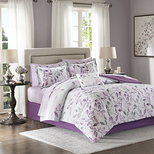 Madison Park Essentials Lafael komplett Tröster Set Purple Twin