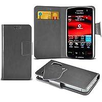 (Grey) Blackberry Storm 9500 Mega sottile Protezione in ecopelle ventosa Custodia a portafoglio Pelle Copertura Caso Cover con carta di credito/debito Slot Aventus