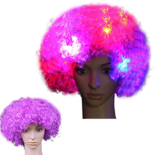 Cooljun Clown Perücke, LED Clown Perücke Afro Curly Perücke LED Perücke mit Blinkenden Farbigen Lichtern Halloween Cosplay Kostüm Haar Zubehör für Kinder Erwachsene (M)