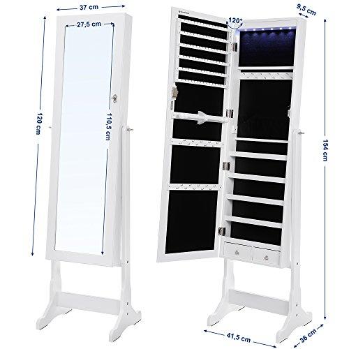 Songmics LED Beleuchtung Schmuckschrank spiegel mit 5 Ablagen und 2 kleine Schubladen abschließbar JBC94W - 7