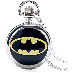 "BATMAN Logo Polished Silver Finish Case Women's Quartz Pocket Watch Necklace - On 32"" Inch / 80cm Chain"
