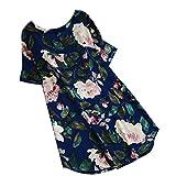 Kanpola Damen Kleider Elegant Frauen Frühling Große Größen Leinen Baumwolle Langarm Shirt Minikleid Blumen Kleid (EU-50/CN-5XL, Blau)
