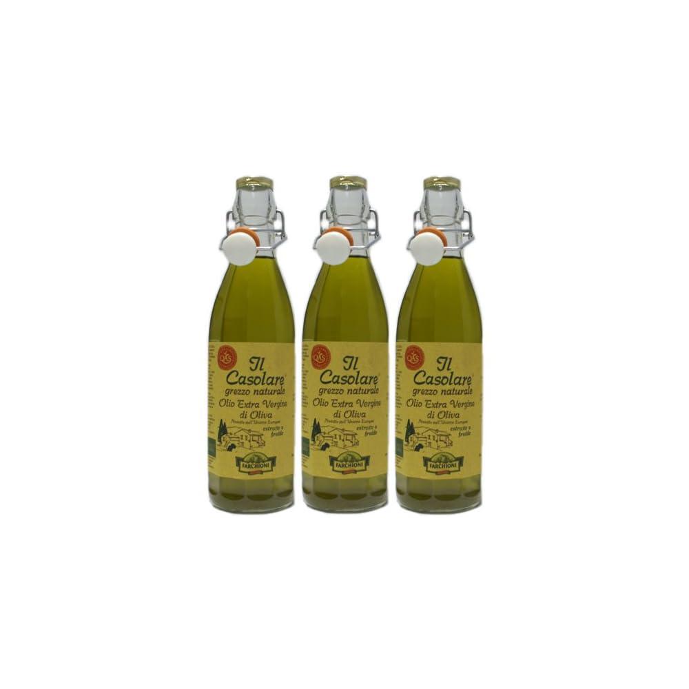 3x Farchioni Olivenl Extra Vergine Il Casolare Grezzo Naturale 1000 Ml