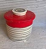 Wasserbutterdose französische Butterdose Keramik in redline