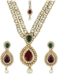 Jewels Gold Alloy Gold Plated Stylish Funky Designer Necklace With Earrings Set Maangtika For Women & Girls