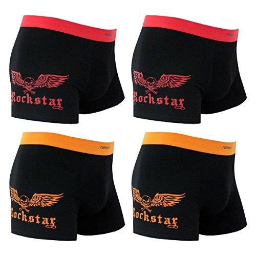 4er Pack Herren Retroshorts Boxershorts mehrfarbig M L XL oder XXL 2x schwarz/orange 2x schwarz/rot