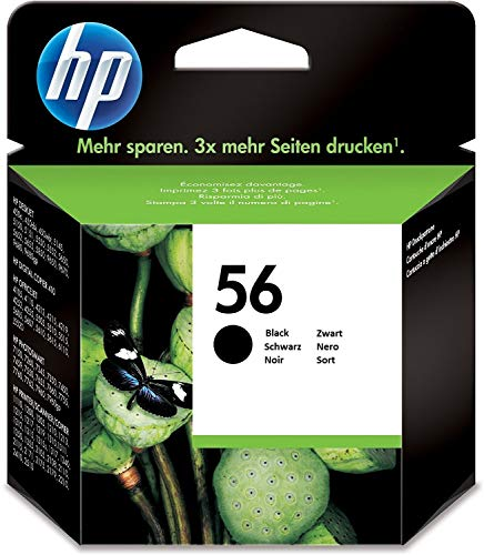 HP 56 Schwarz Original Druckerpatrone für OfficeJet, DeskJet, Photosmart