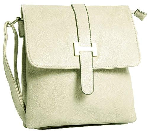 Big Handbag Shop donna Multipocket Messenger Crossbody Borsa a tracolla Cream