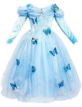 Le SSara Traje de Cosplay de princesa de niña de manga larga vestido de mariposa fantasia azul