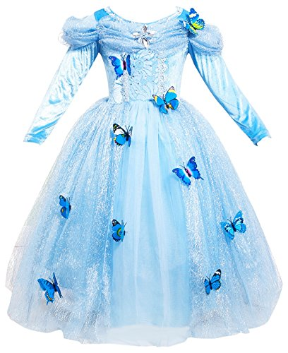 Le SSara Lange Ärmel Mädchen Prinzessin Kostüme blaue Schmetterling Fancy Dress (100 (3T)) (Kind Fancy Dress)