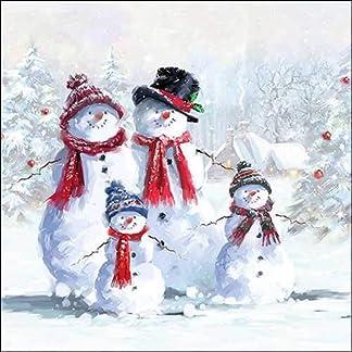 Servilletas de papel navideñas con diseño de muñeco de nieve con gorro de almuerzo 33 x 33 cm para otoño, invierno, Navidad.
