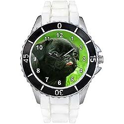 Pug negro Unisex Reloj para hombre y mujer con correa de silicona blanco