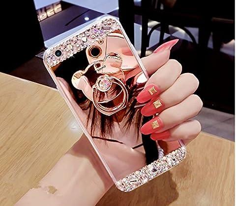Paillette Coque pour Galaxy J7 2016,Galaxy J7 2016 Coque en Silicone Miroir Étui Housse,Galaxy J7 2016 Souple Silicone Coque Etui pour Femme Fille, Ukayfe Etui de Protection Cas en caoutchouc en Ultra Slim Luxury Flex Coque avec Bling Brillant Ours Ring Stand Holder Gel TPU Bumper Bling Bling Glitter Sparkle Diamant Strass Coque Cas Case Cover Couverture Etui pour Samsung Galaxy J7 2016(Or Rose)