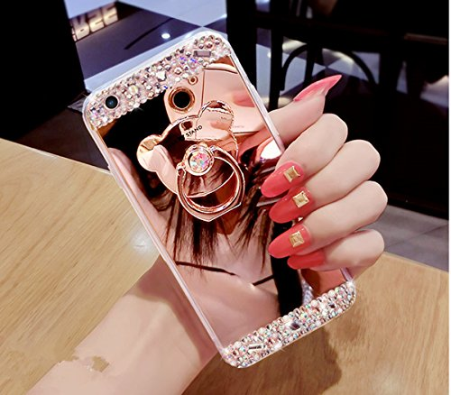 iPhone 8 Hülle,iPhone 7 Hülle, iPhone 8 / iPhone 7 Spiegel Hülle Mirror Case, Ukayfe [Glitzer Strass Bär Handy Ständer Ring Holder] Glitzer Silikon Hülle iPhone 8 / iPhone 7 Rose Gold Plating Silikon Schutzhülle Luxus Glänzend Glitzer Kristall Strass Rahmen Weich TPU Handy Tasche Ultra Dünn Silikon Weich Crystal Handyhülle mit Make Up Spiegel Mirror Kratzfeste Handy Tasche Schale Etui Bumper für iPhone 8 / iPhone 7 4.7 Zoll- Rose Gold Iphone Case Make-up