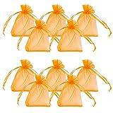 PandaHall 100PCS Sacchetti Regalo Organza Saccgetti Portaconfetti Sacchetti Gioielli, Rettangolo, Rosso-arancio, 9x7cm