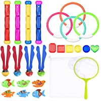 Toyvian 26PCS Underwater Swimming/Diving Pool Toys Rings, Diving Sticks ,Water Grass Fishing Kit with Under Water Treasures Gift Set Bundle