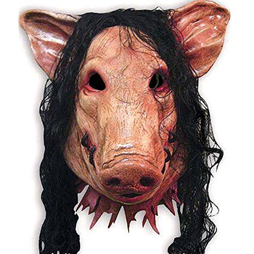 Kostüm Schweinekopf - KHFFJ 1Pcs Erwachsenes Tier Gruselige Schweinekopf Schwarze Haare Maske Halloween Party Vollkopf Rollenspiel Kostüm Anime Werkzeug