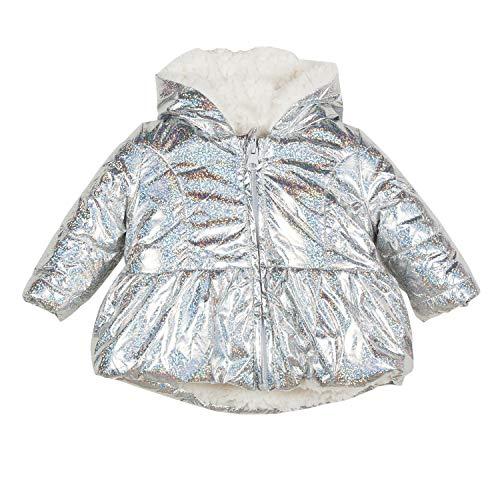 Catimini Baby-Mädchen Mantel Doudoune Réversible Pour, Silber (Silver 18), 3-6 Monate (Herstellergröße: 6M) Reversible Winter Mantel