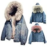 Knowled Giacca di Jeans Donne Inverno Foderato in Peluche Giacca Giacca Invernale Calda a Maniche Corte Slim Cappotto Invernale Cappotto Outwear Cappotto Giacca di Jeans Moda in Cappello