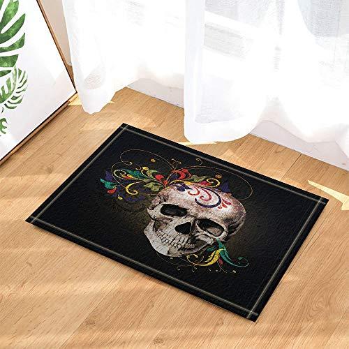 andgezeichnete Totenkopf mit Blumen Dekor Bad Teppiche 3D Digitaldruck 40 x 60 cm Schlafzimmer Küche Kinder Badezimmer Matte Zubehör ()