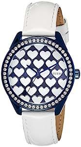 Montre femme cadran bleu coeurs et strass bracelet blanc Guess W0543L2