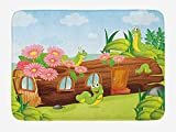 Kids Bath Mat, Cute Friendly Smiling Worms in Wooden Tree House Animal Image, Plush Bathroom Decor Mat with Non Slip Backing, 23.6 W X 15.7 W Inches, Chocolate Sky Blue and Apple Green