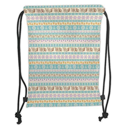 ack Backpacks Bags,Striped,Boho Aztec Culture Unusual Traditional Folk Fashion Mythological Retro Art Motif,Mint Lilac Soft Satin,5 Liter Capacity,Adjustable String Closure, ()