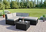 Rattan Wicker Weave Garden Furniture Conservatory Modular Corner Sofa Set INCLUDES GARDEN FURNITURE COVER (Black)
