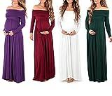 IWEMEK Women Pregnants Dress, Ladies Maternity Dresses Cowl Neck Pregnants Sexy Photography Props Off Shoulders Maternity Nursing Dress Long Sleeve Maxi Dress