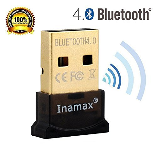 Inamax Bluetooth 4.0 USB Dongle Adapter for PC with Windows 10 / 8.1 / 8 / 7 / XP,Vista, - Plug and Play on Win 7 and above