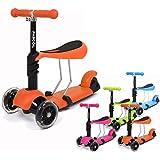 Fascol® 3 en 1 multifuncional Vespa Premium Patinete Scooter para niños de 1 - 9 años Patinete Naranja