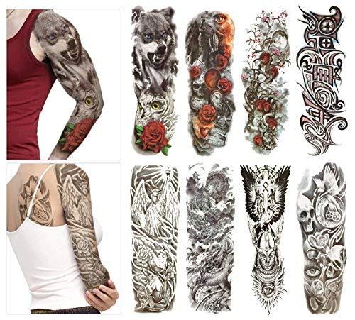 Adesivi trasferibili temporanei per tatuaggi - 8 fogli di grandi dimensioni per uomini e donne, impermeabili, rimovibili, non tossici e sicuri per tutti i tipi di pelle