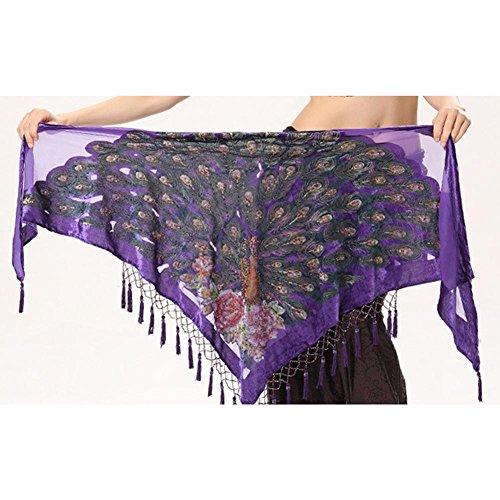 frau quaste dreieckig hüfttuch trainieren taille kette handgefertigt indien pfau bauch tanzen tribal schals wickeln rock gürtel . purple . one size