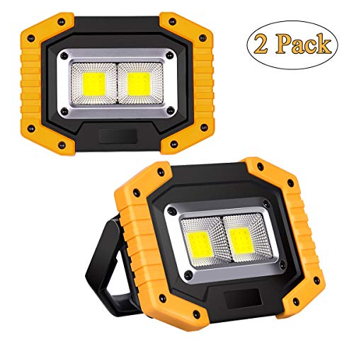 2-Pack Luz de Trabajo LED Recargable, Luz de Inundación Portátil 30W USB, 3 Modos, Linterna al Aire Libre Impermeable para la Reparación de Automóviles, Camping, Luces de Seguridad de Emergencia