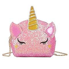 Idea Regalo - unicorno Borsa a tracolla Glitter ciondolo a forma di unicorno Borsa con tracolla a forma di unicorno con personalità Borsa a tracolla piccola a forma Ragazze 15 * 13 * 5cm