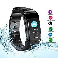Idea Regalo - Damigram Fitness Tracker HR, Tracker attività con cardiofrequenzimetro, impermeabile IP67 Smart Wristband con contacalorie orologio pedometro Sonno Monitor per bambini Donne Uomini Android e ios
