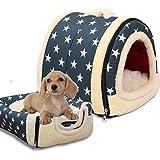 Cloud-castle 2-in-1 PET Haus & Sofa Haustier Plüsch Hund Katze Kitty Bett faltbare Innen Pet Kennel Waschbar Protable Schlafsack Tierbett mit Kissen für Hunde Katzen (L, Blau)