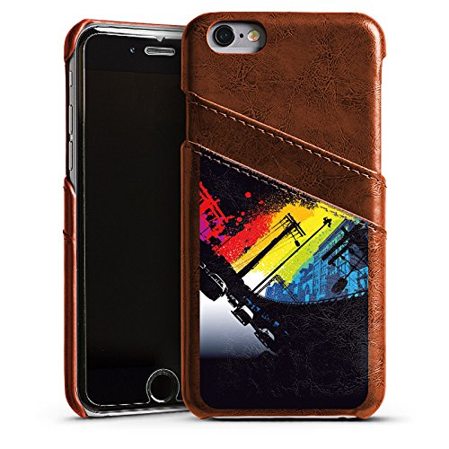 Apple iPhone 4 Housse Étui Silicone Coque Protection Rues Urban Nuit Étui en cuir marron
