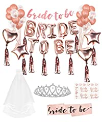 Idea Regalo - Lehoo Castle Addio al Nubilato di Sposa di Essere Bride to Be Satin Sash And Veil,Palloncini Banner Party in Oro Rosa Decorazione ,Palloncini Addio al Nubilato