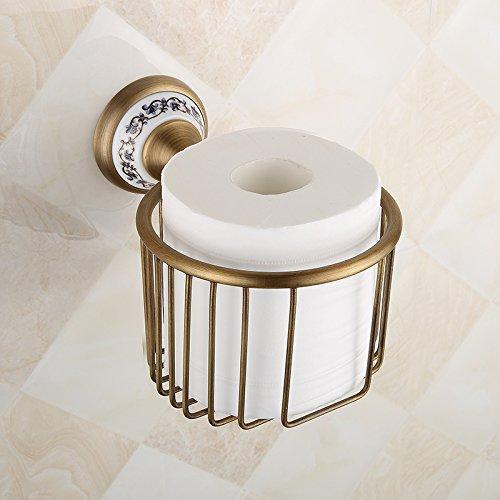 QUEEN'S Kreative Toilettenpapier Rack Wandmontage,European Copper Keramik Antique Vintage rustikal Handtuchhalter Handtuchhalter Warenkorb,WC Papierhalter