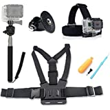 HOMREE 4 In1 Ultimate GoPro Accessories Pack Head & Chest Strap & Monopod & Yellow Hand Grip Floating Mount For HD & Hero 5/Hero 4/Hero 3+/3 2 Action Camera SJ4000 SJ5000