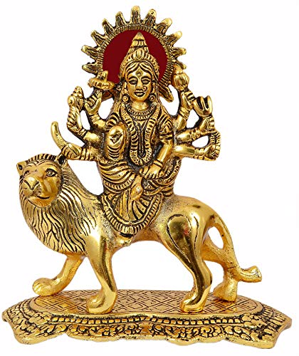 Nexplora Industries Durga Maa Hindu Goddess Religious Metal Statue Idol Sculpture (Gold Antique)