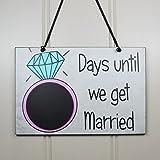 Claude16Poe Tage, bis Wir Heiraten Countdown Ring Handgefertigt Home aus Holz mit Kreidetafel Holz Plaque Decor.–Verlobungsring Geschenk