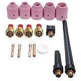 Werse 17 PCS WIG Schweißen Gas Objektiv Zubehör Kit 0,04-1/8 für Taschenlampe 9/20/25