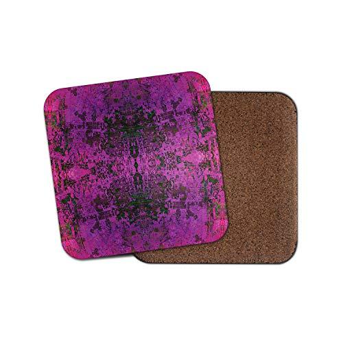 12348 Untersetzer mit violettem indischem Muster, persischer Teppich mit Spiegel, Vintage-Geschenk -