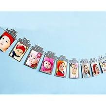 SYOO 12 Meses Marco de Fotos de Bebé Garland Pictures Bunting Banner, Regalo de Decoración para Primer Cumpleaños Bautismo Primera Comunión Baby Shower Babyshower Baby Shower Fiesta de Niños
