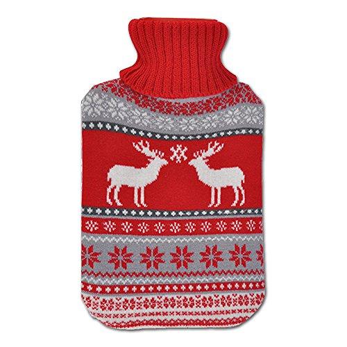 JEMIDI Wärmflasche 2 Liter im Weihnachtsdesign Wärmflaschen Bezug Strick Weihnachten Bettflasche (Rot)