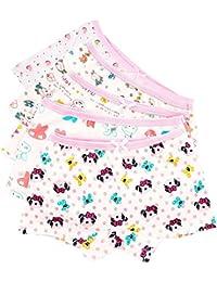 CHIC-CHIC Couleur Random Lot de 5 Fille Bébé Enfant Culotte Pantalon sous-Vêtement en Coton Boxer Slip Motif Mignon Animaux